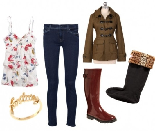Rainy day Outfit with socks and boots