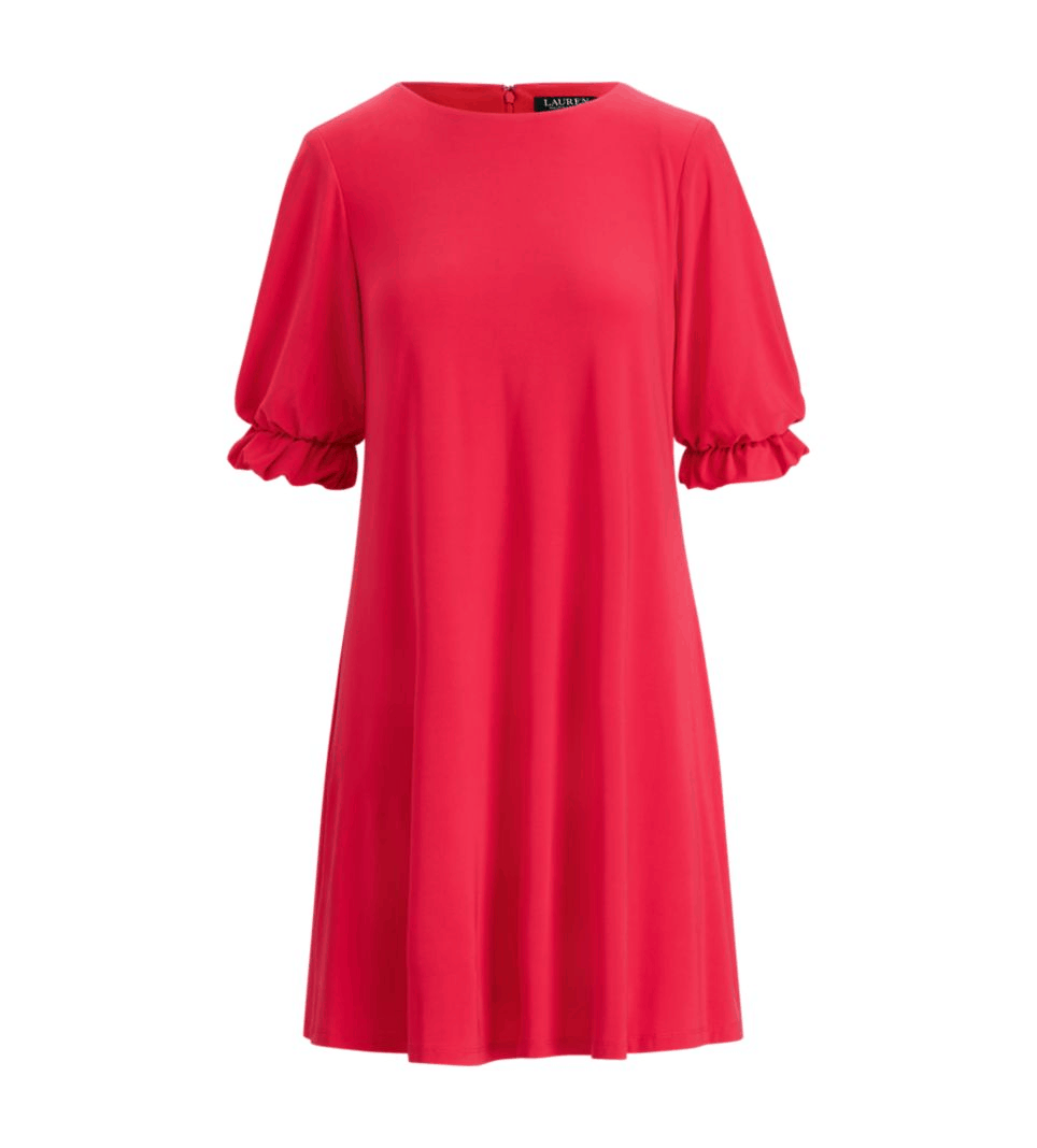 Bright-pink crew-neck short- ruffle-sleeved dress