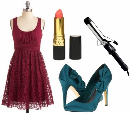 Raspberry dres, coral lipstick and dark turquoise pumps