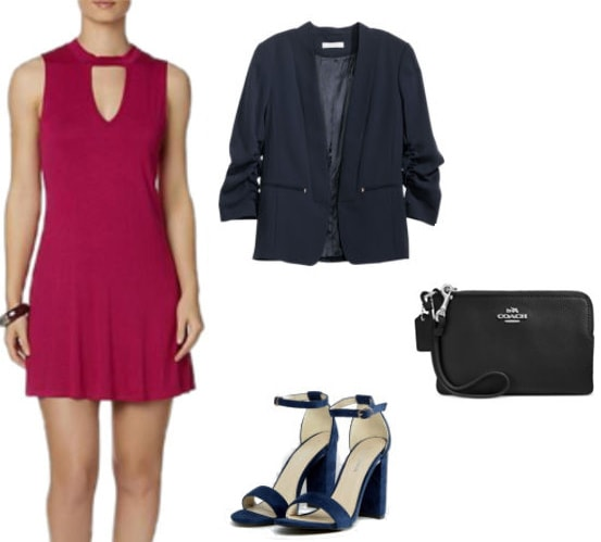 How to style a raspberry pink skater dress: Skater dress outfit idea with a navy blazer, navy single strap heels, and a black Coach wristlet