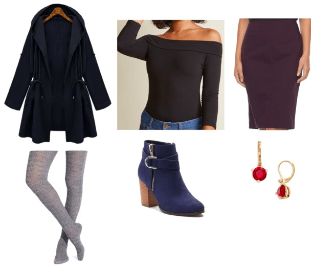 navy trench coat black off-the-shoulder top purple pencil skirt gray tights navy booties red and gold earrings teen titans casual cosplay teen titans raven outfit