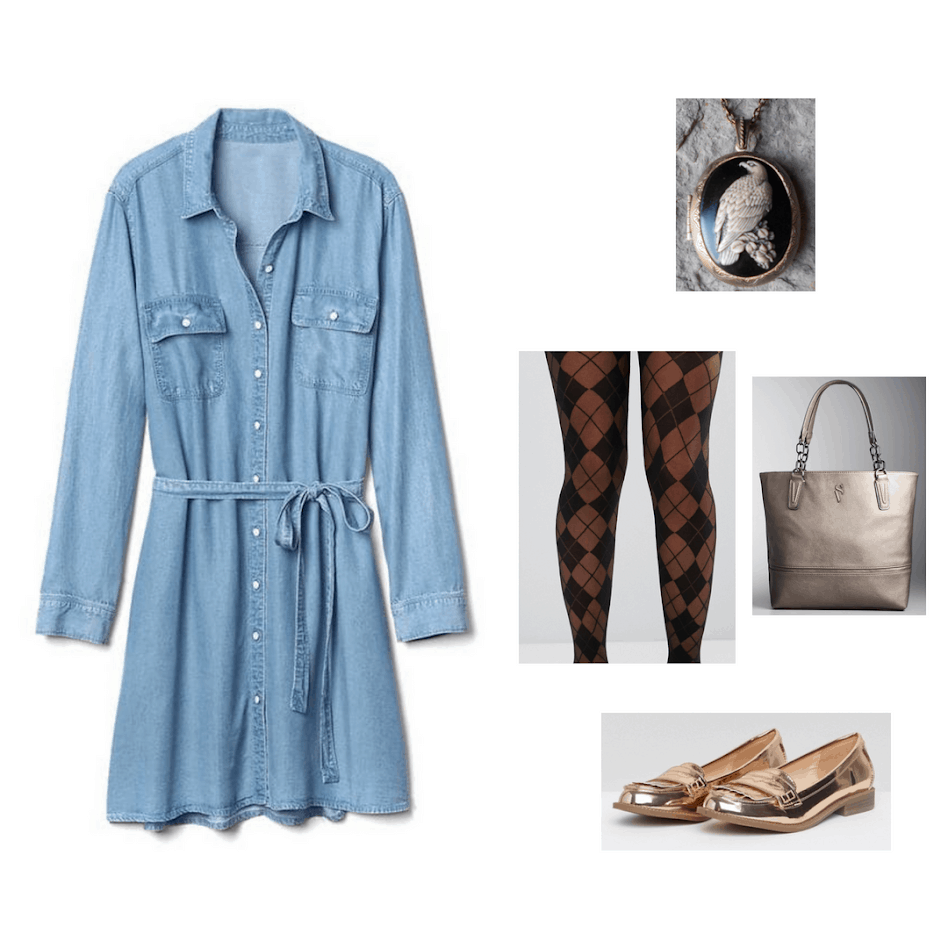 Ravenclaw casual study outfit: Blue shirtdress, patterned tights, bronze tote bag, cameo necklace, and metallic gold flats