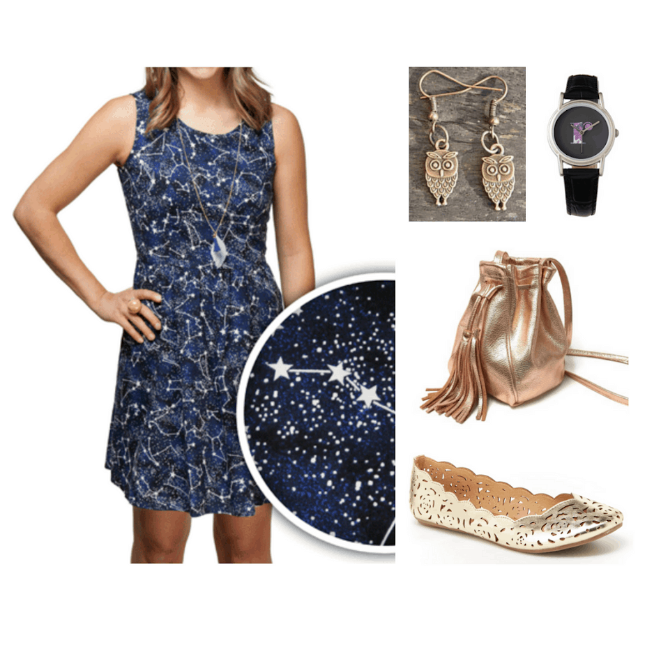 Hogwarts fashion: Outfit inspired by Ravenclaw house with star constellation print dress, gold fringe metallic bucket bag, owl earrings, a black watch, and gold cutout flats