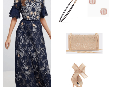 Ravenclaw formal outfit: Navy and gold lace maxi dress, nude bow heels, sequined chain strap clutch, embellished headband, pink stud earrings