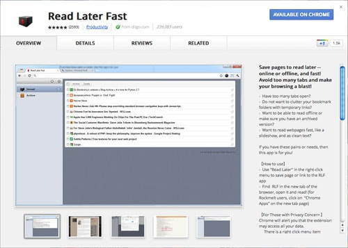 Read It Later Fast app for Chrome