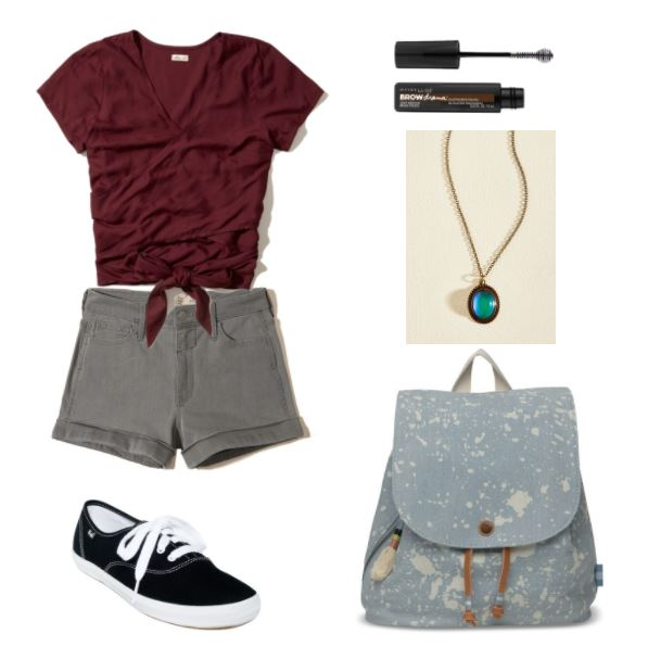 First day of classes outfit: What to wear to hang out with friends or go to orientation. Outfit with burgundy tie-front tee shirt, gray denim shorts, black and white sneakers, blue backpack, brow gel, mood stone necklace