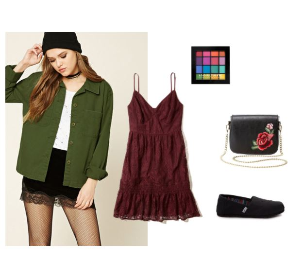 First day of classes outfit: What to wear to have a fun first day -- and night -- back. Outfit includes a red lace spaghetti strap dress, an oversized green button-down shirt, black on black toms shoes, a rose-embellished chain strap bag and a colorful eyeshadow palette