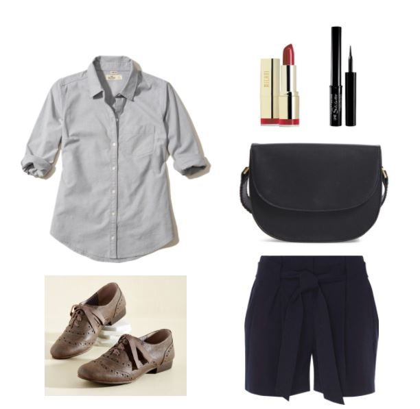 First day of classes outfit: Preppy and simple outfit for class with oxford shirt, flowy shorts, red lipstick, oxford flats