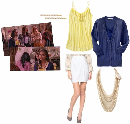 Rebecca Logan from Greek outfit - Prim & proper ensemble with white skirt, yellow top, and blue cardigan