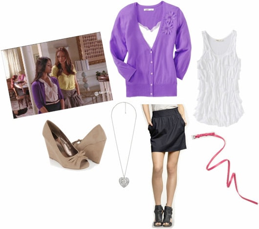 Rebecca Logan from Greek outfit - purple cardigan, black skirt, and pumps