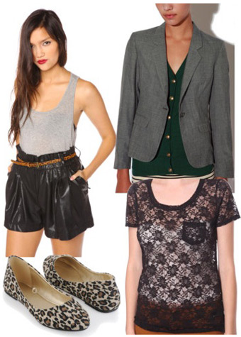 Outfit inspired by Rebecca Minkoff Fall 2011 - Lace top, leather shorts, blazer