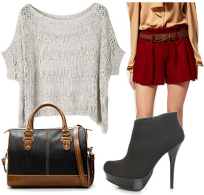 Outfit inspired by Rebecca Minkoff Fall 2011 - Ankle booties, loose sweater, shorts