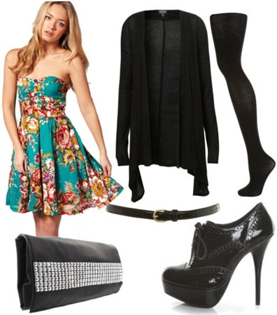 Outfit inspired by Rebecca Minkoff Fall 2011 - Teal floral dress, boyfriend cardigan, tights, ankle booties
