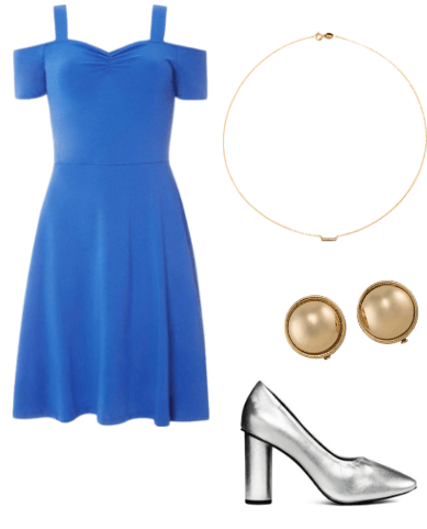 Outfit inspired by Rebecca Bunch on Crazy Ex Girlfriend tv show: blue a line dress, silver pumps, gold bar necklace, gold studs