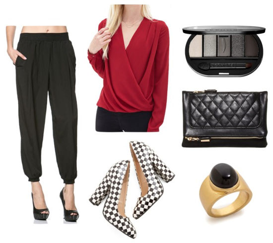 Red blouse black pants checkered heels