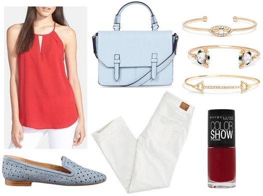 Red blouse, white jeans, light blue loafers and purse