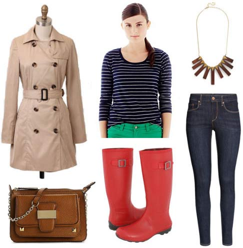 How to wear rain boots: Red boots, skinny jeans, striped tee, trench coat, necklace