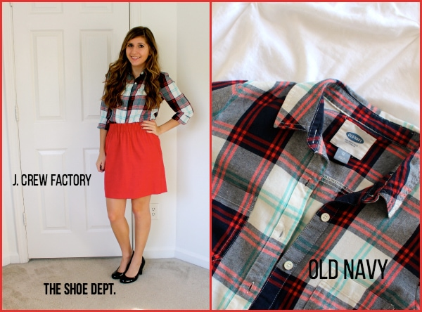 Red-City-Skirt-Plaid-Blue-White-Top-Black-Pumps-Business-Casual