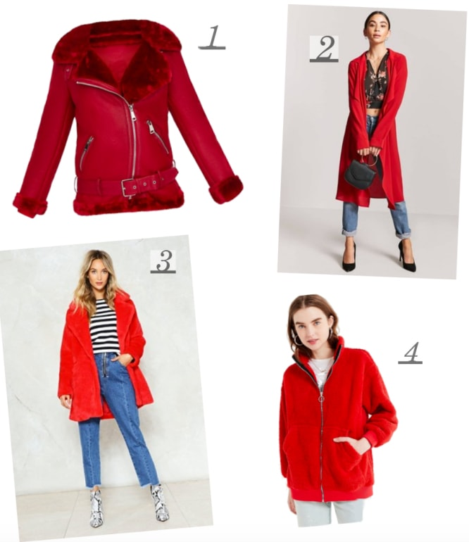 Red is the color of the season. Add a statement to any outfit with a bold red coat. Cute red coats from MissGuided, NastyGal, Urban Outfitters, Forever 21