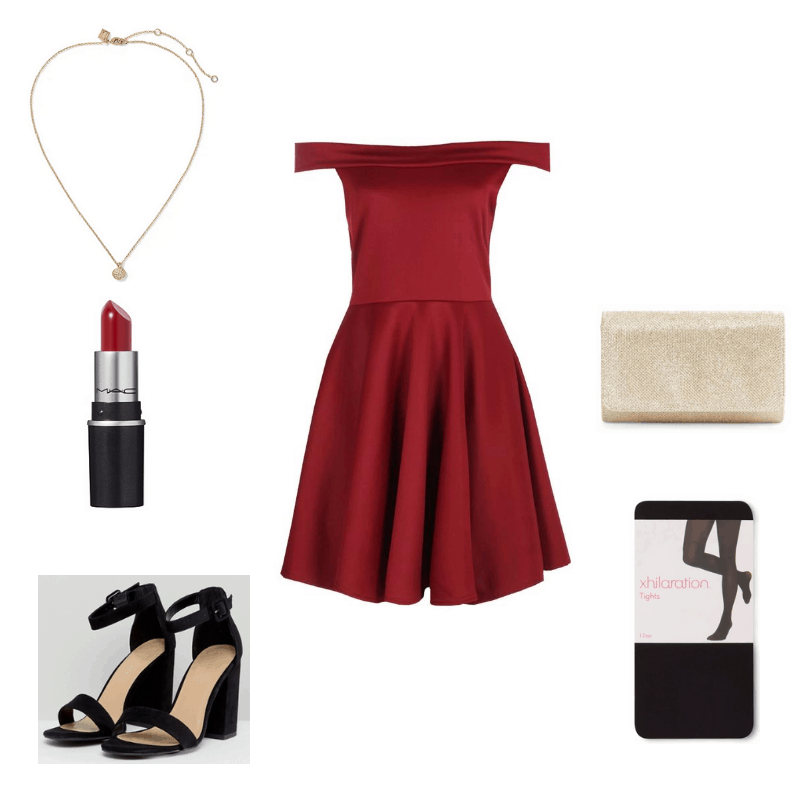 Outfit with red off-the-shoulder dress, black block heeled sandals, gold pendant necklace, semi opaque tights, red lipstick, and gold glitter clutch