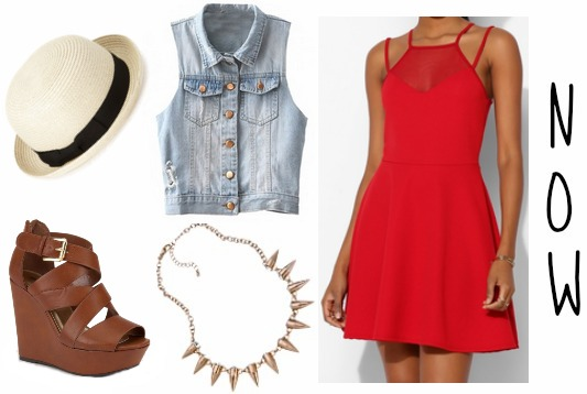 Red dress and denim vest summer look
