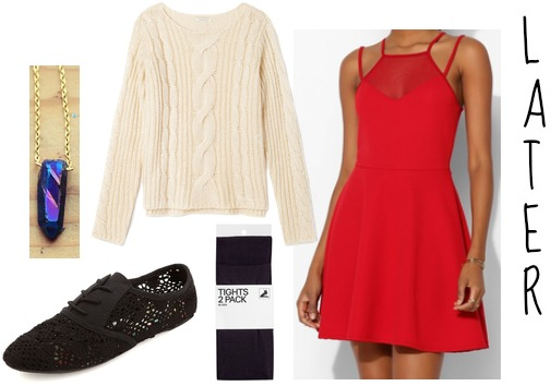 Red dress and sweater fall outfit