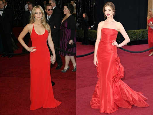 Red dresses on Jennifer Lawrence and Anne Hathaway at the 2011 Oscars
