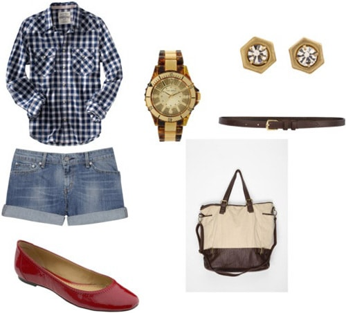 Red flats outfit 1: Plaid shirt, denim shorts, satchel