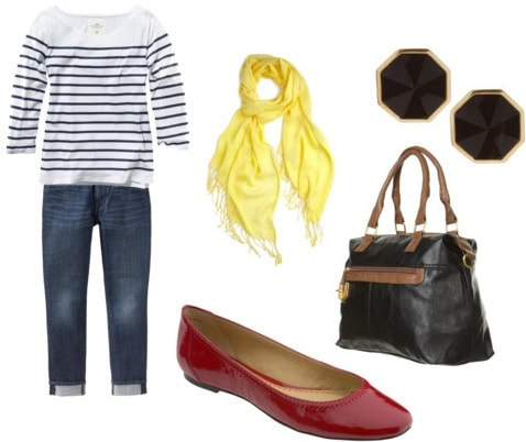 Red flats outfit 2: Striped top, boyfriend jeans, yellow scarf