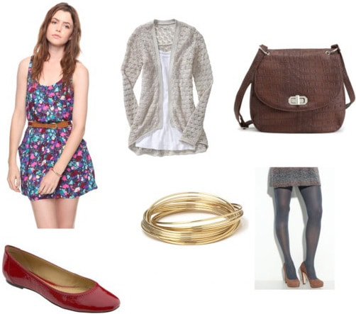 Red flats outfit 3: Patterned dress, tights, cardigan, satchel