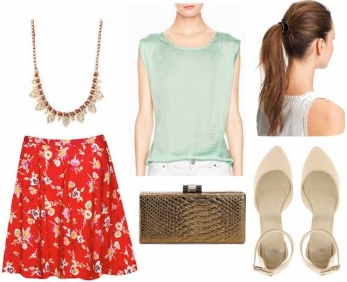 Red floral skirt, mint top, pointy toe flats, red and gold necklace