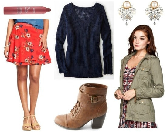 Red floral skirt navy sweater utility jacket outfit