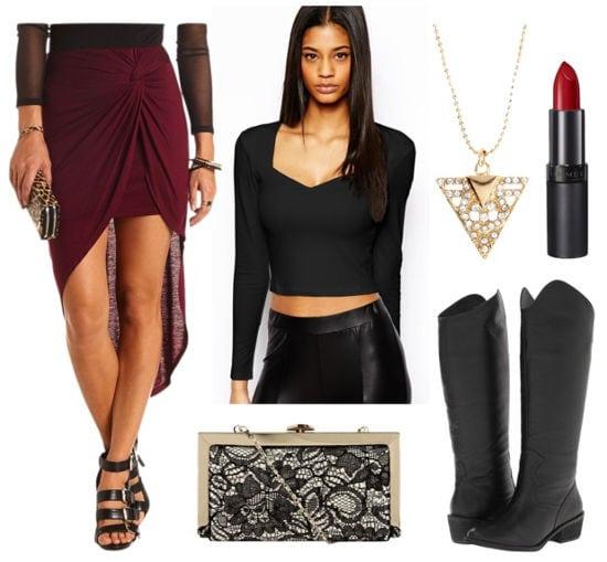 Red hi lo skirt black crop top