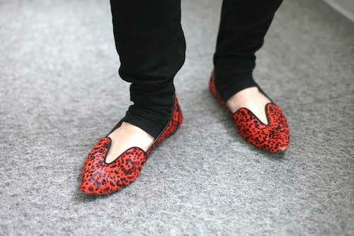 Red leopard print loafers