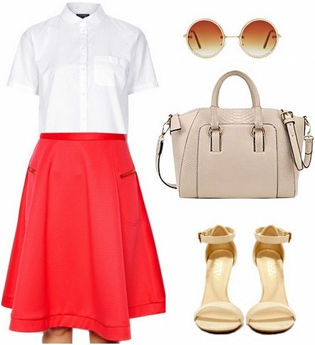 Red midi skirt and button front blouse look