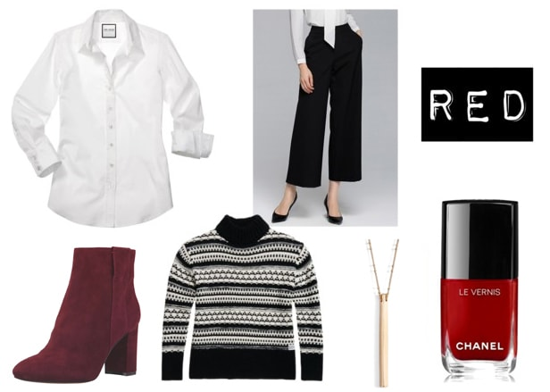 Red nail polish outfit: White blouse, black cropped trousers, black fair isle sweater, burgundy suede booties, gold drop necklace