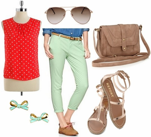 Red polka dot blouse, mint trousers, sandals, bow earrings