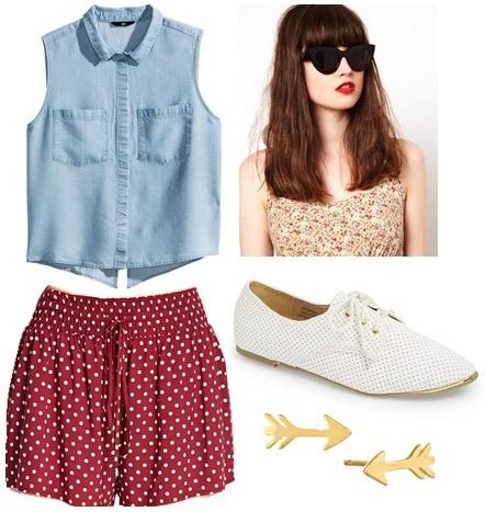 Red polka dot shorts, chambray top, oxfords