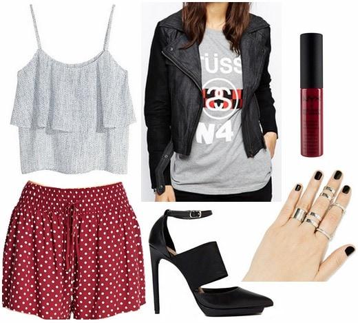 Red polka dot shorts, ruffle top, cut out pumps, moto jacket