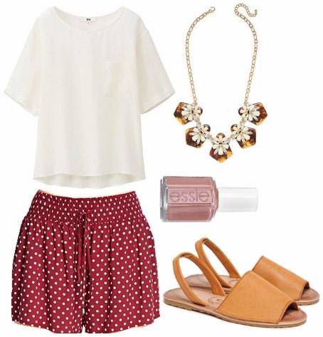 Red polka dot shorts, silk tee, mustard yellow sandals