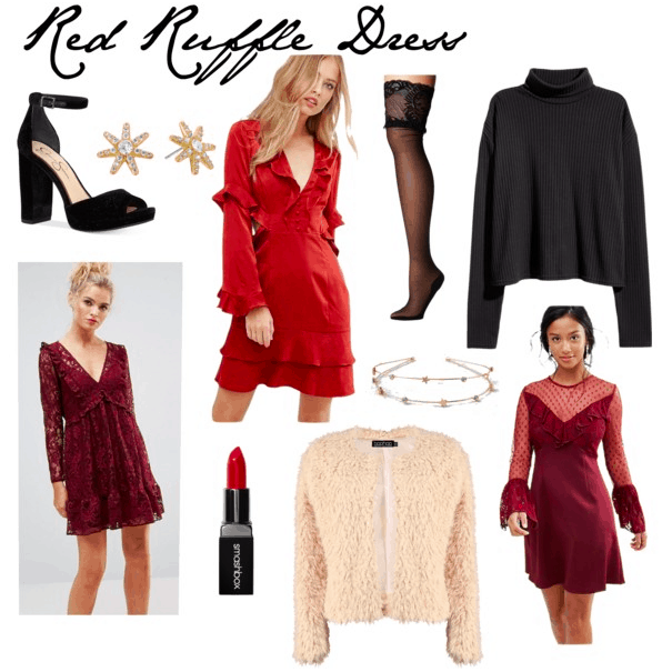 red ruffle dress, platform heels, star studs, fur jacket, red lipstick, lace stockings, turtleneck, star headband