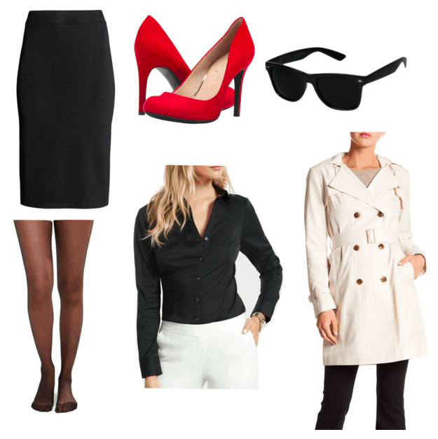 Atomic Blonde Fashion: Outfit inspired by Lorraine with black button-down shirt, black pencil skirt, sheer black tights, beige trench coat, red pumps, black sunglasses