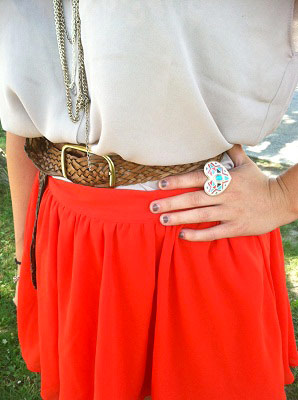 College student fashion trend: bright a-line skirt
