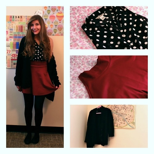 Red skirt polka dot top taylor swift inspired outfit