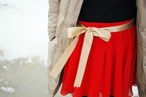 Red skirt with ribbon belt