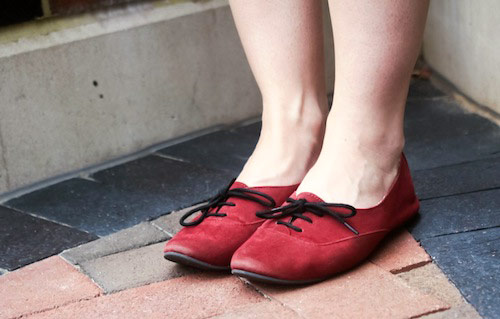 Red suede oxfords
