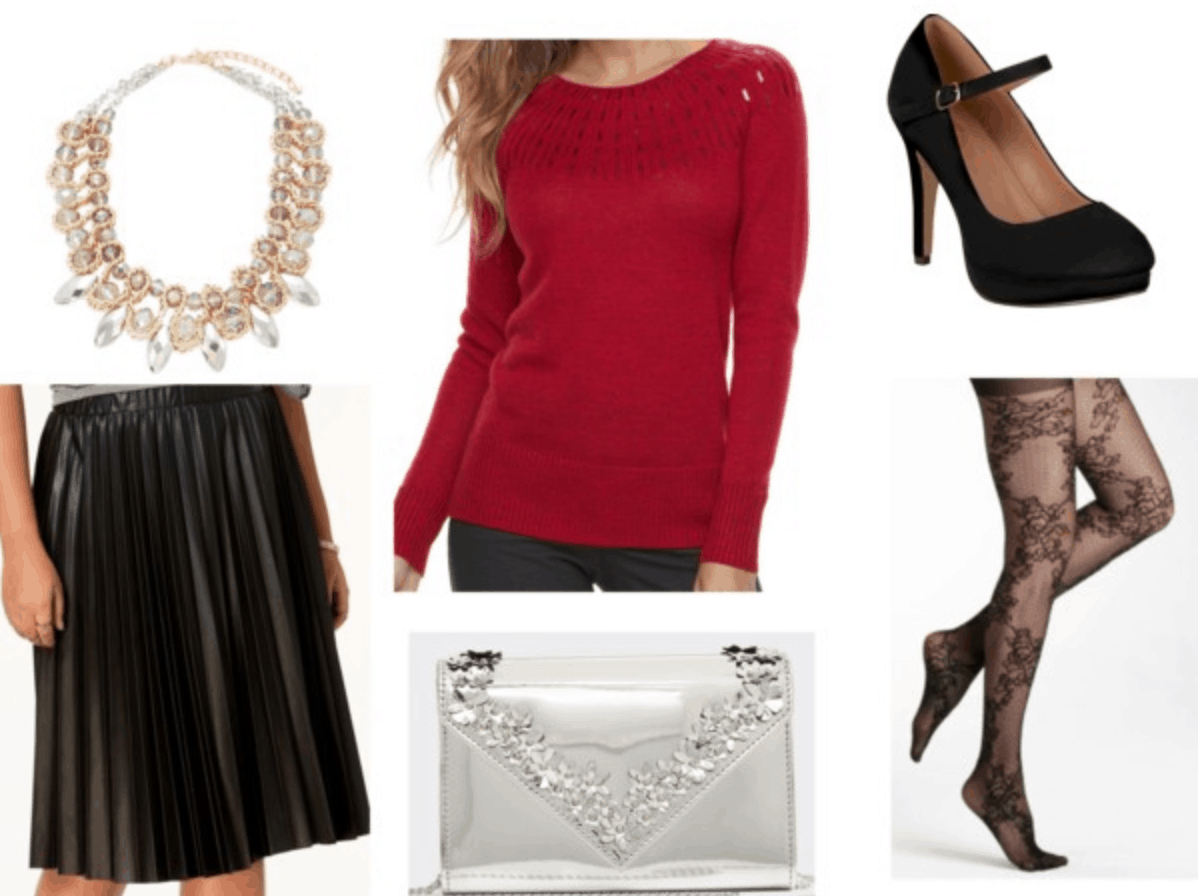 red sweater leather skirt black mary janes floral tights