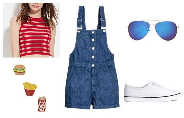 Red, white, and blue overalls summer outfit
