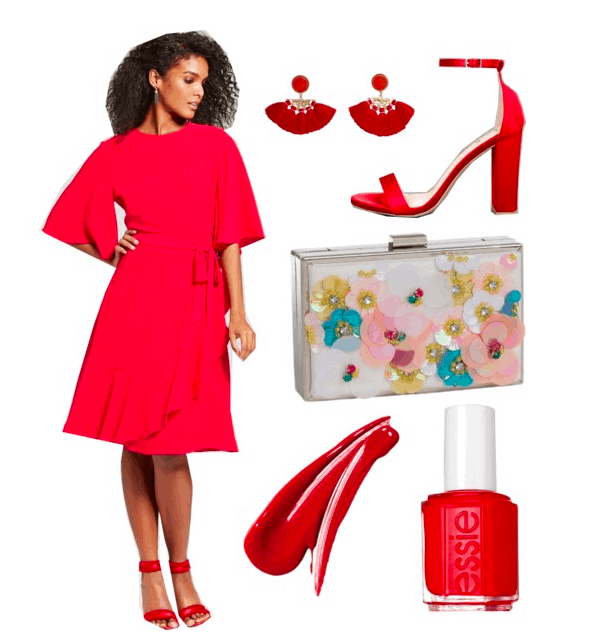Polyvore set including: A brunette model wearing a red ruffle dress, red heels, tassel earrings, a floral embellished clutch, fenty lipstick, and an Essie nail polish bottle.