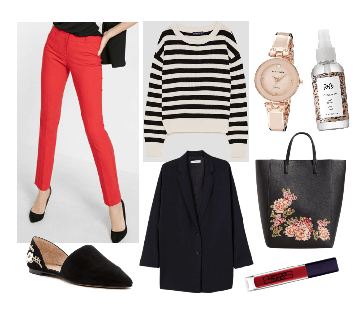 Work outfits ideas: How to style red pants with a black blazer, embroidered bag and mules, striped sweater, rose gold watch, red lipstick